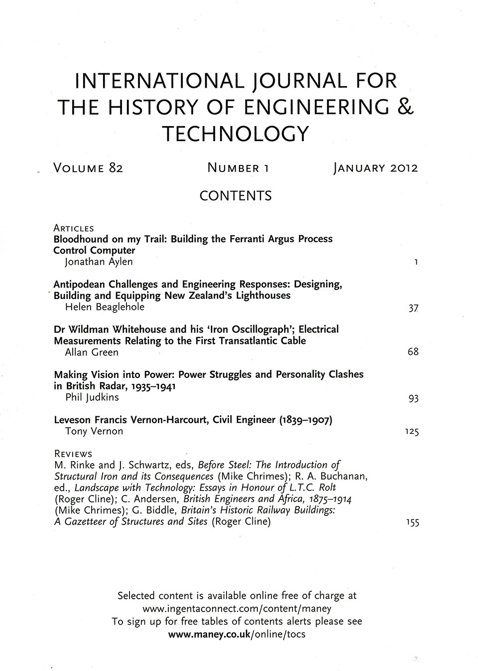 The Journal - V82 No1 2014 - contents