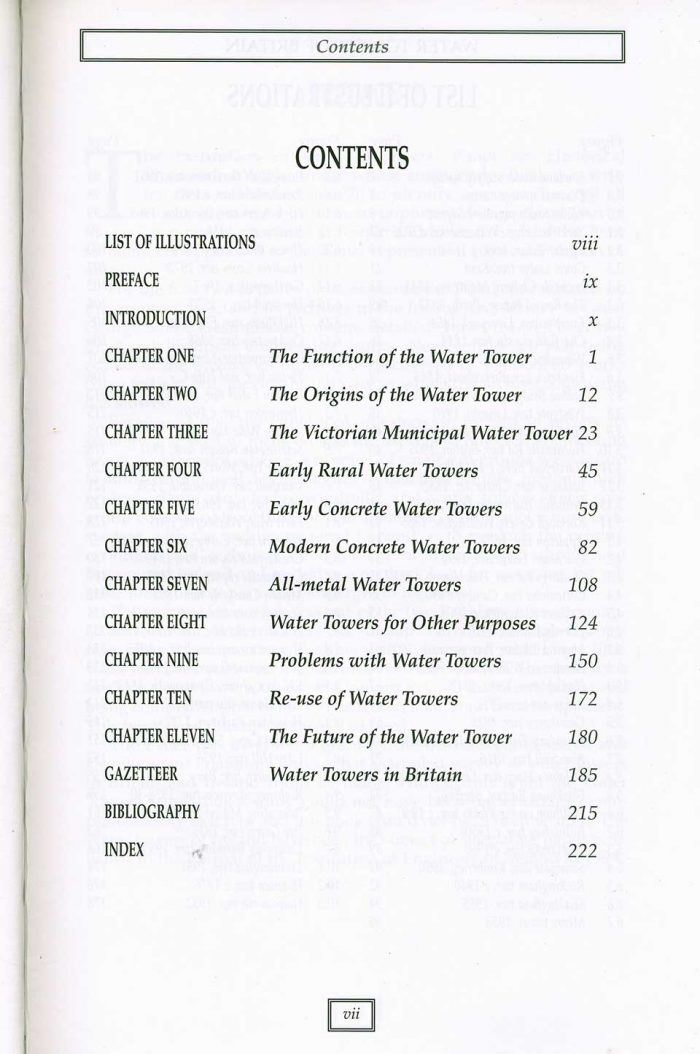 Water Towers Of Britain by Barry Barton - contents