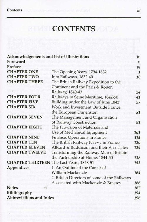 William Mackenzie International Railway Builder by David Brooke - contents