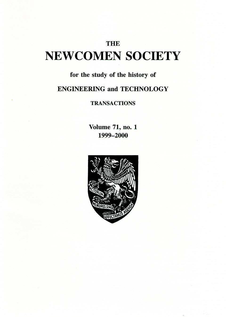 The Journal - V71 No1 1999 to 2000 - cover