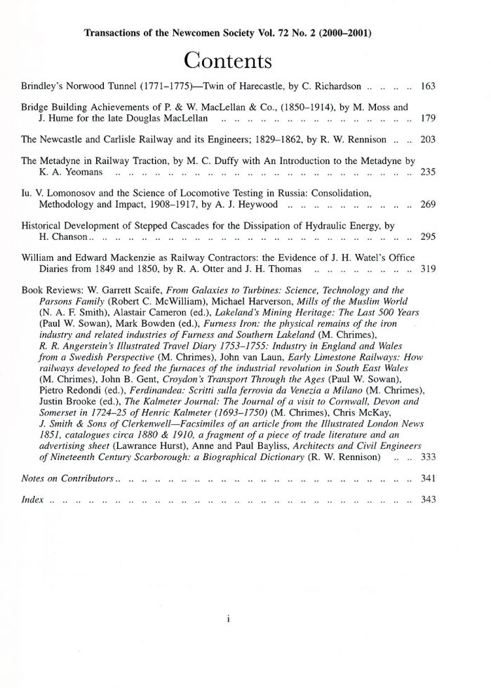 The Journal - V72 No2 2000 to 2001 - contents