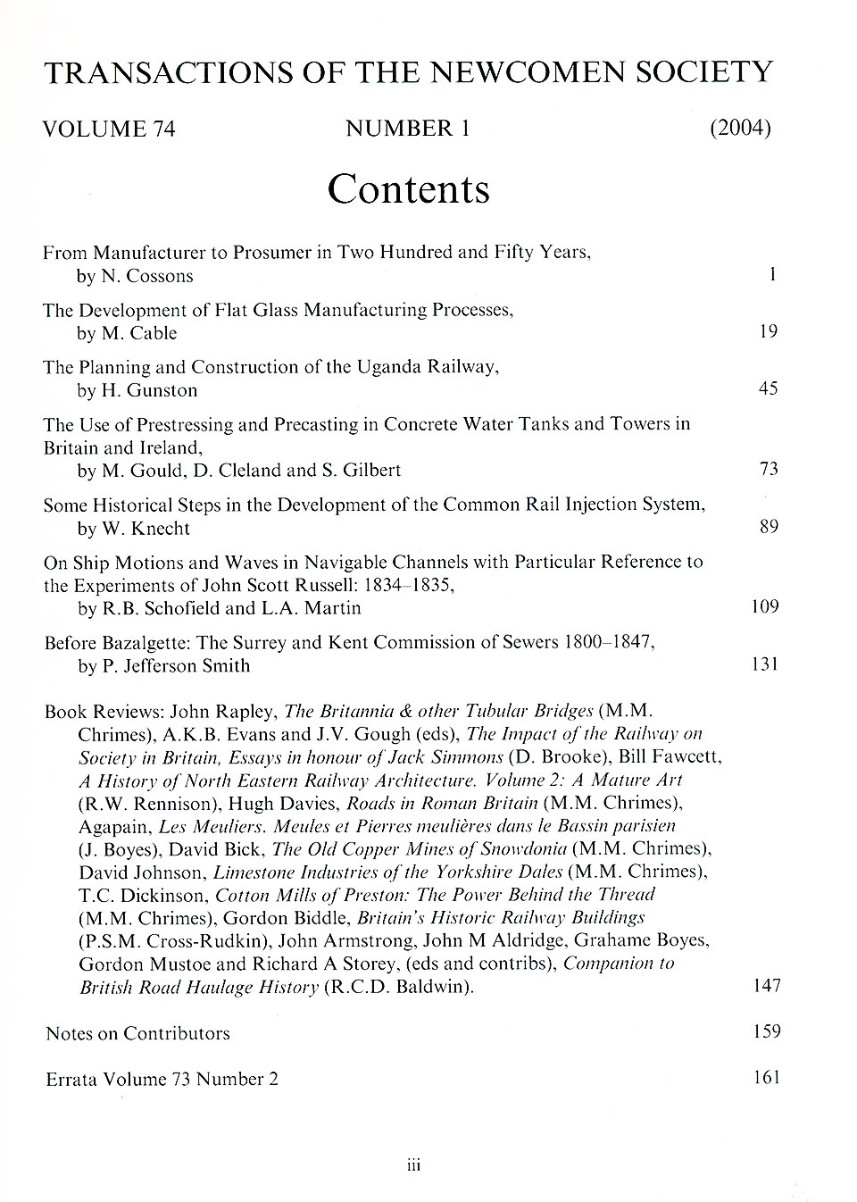 The Journal - V74 No1 2004 - contents