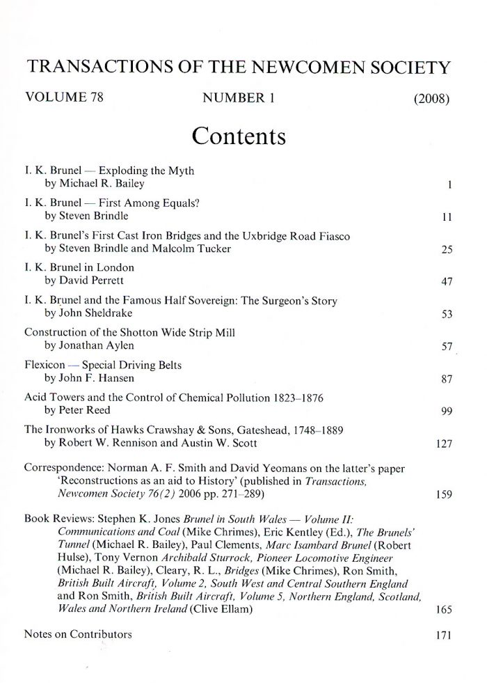 The Journal - V78 No1 2008 - contents