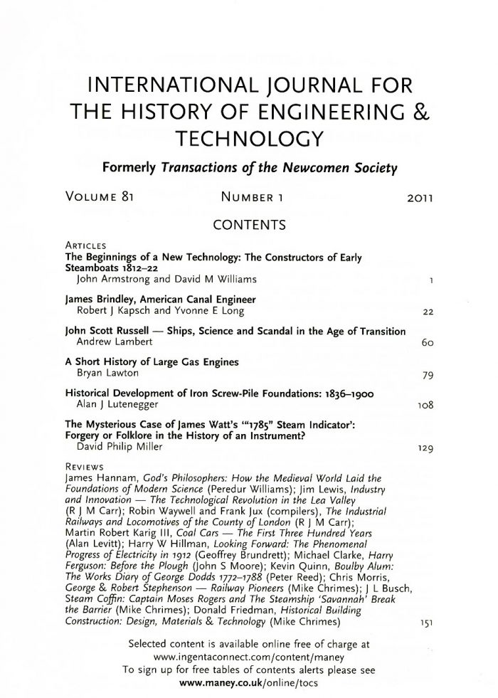 The Journal - V81 No1 2011 - contents