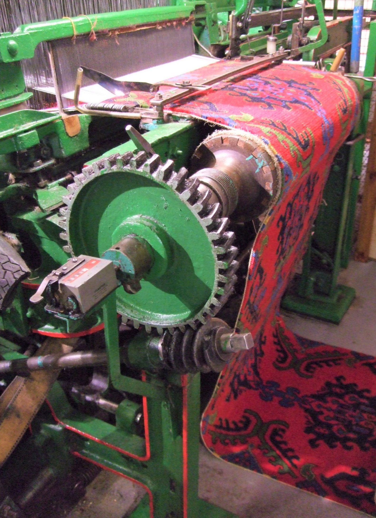 Wilton Jacquard Loom on display at the Museum of Carpet