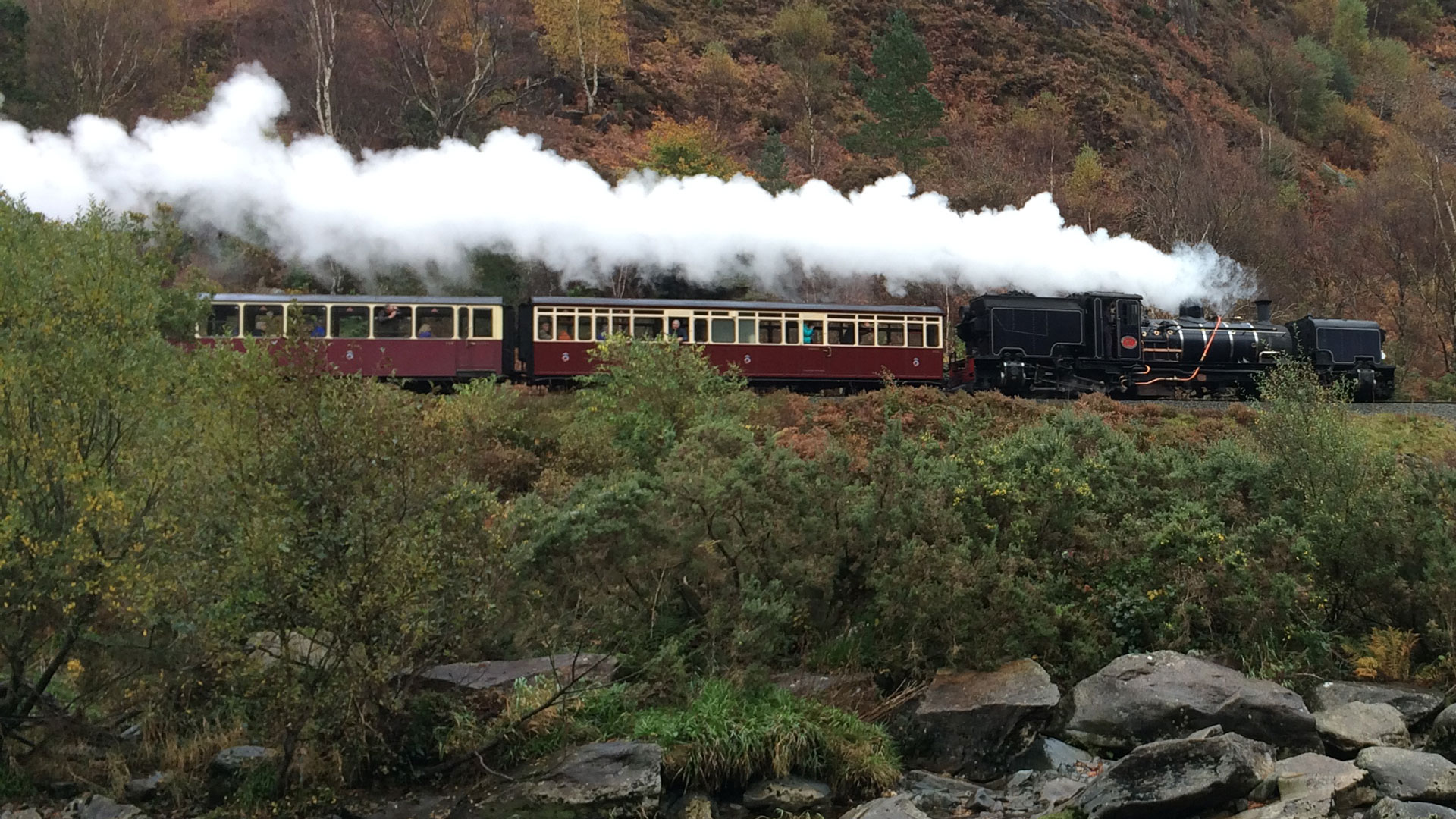 Aberglaslyn Pass on the restored Welsh Highland Railway