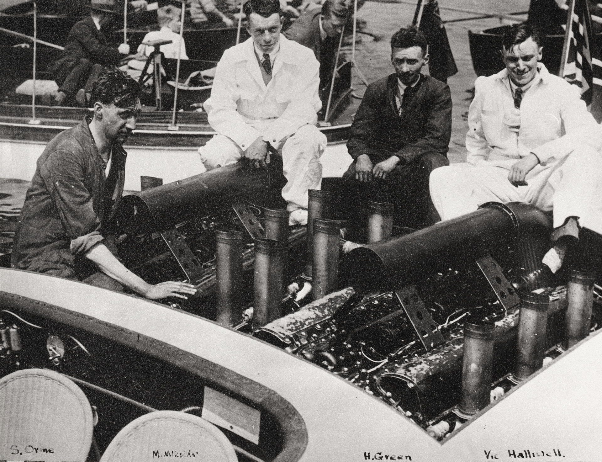Miss England II Rolls-Royce V12 Aero Engines (left to right: S. Orme, M. Wilcocks, H. Green & Vic Halliwell)