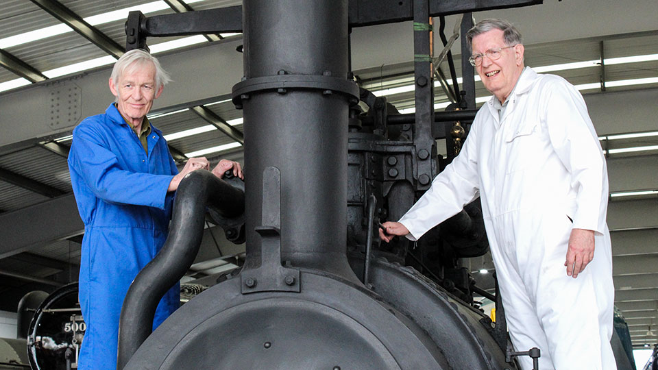 Peter Davidson & Dr. Michael Bailey with the Hetton Locomotive