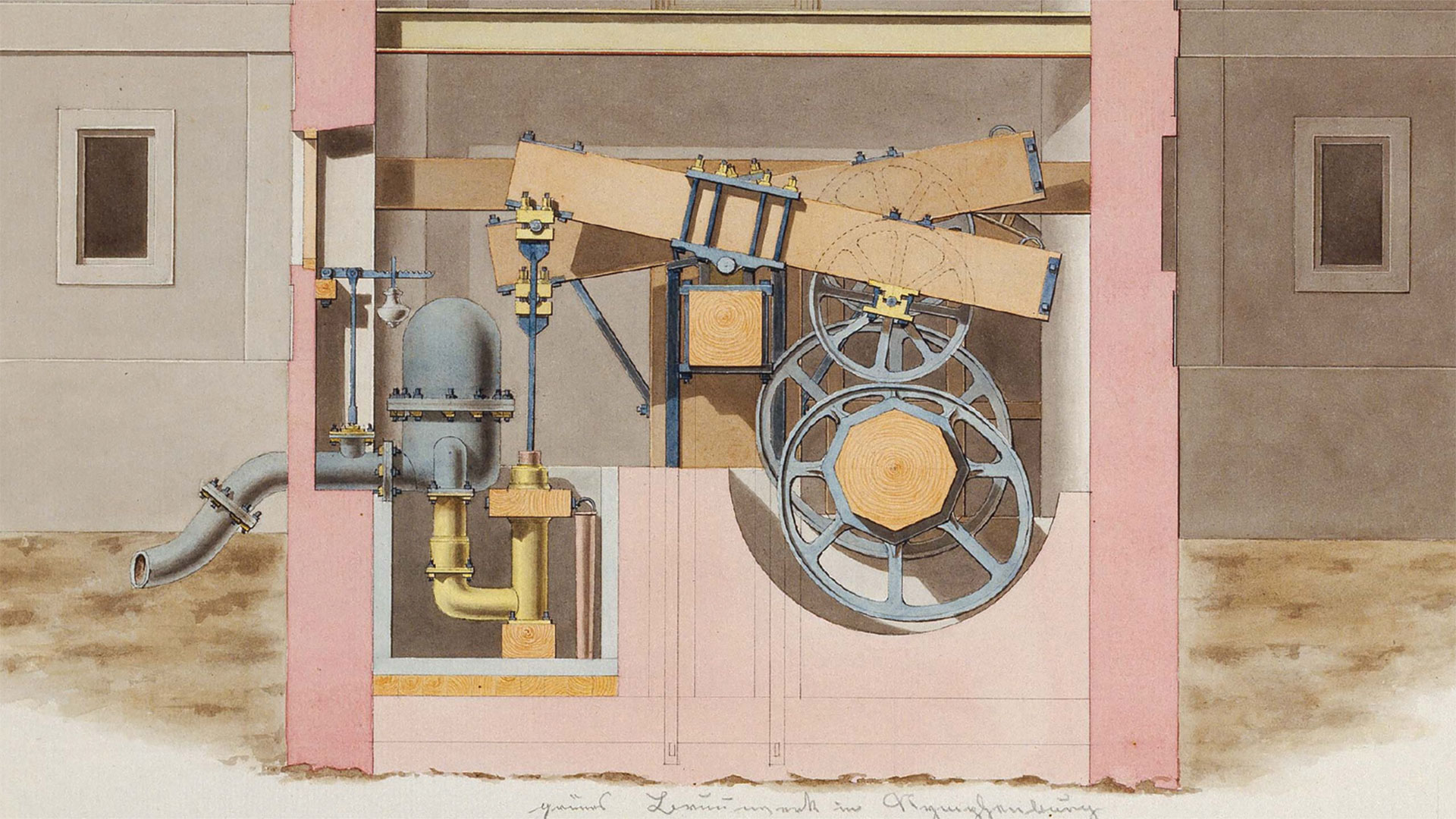 A section of Joseph von Baader's new hydraulic equipment for pumping water in the Royal Gardens in Nymphenburg, 1804 (Deutsches Museum)